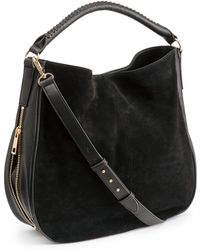 H&M Hobo Bag With Suede Details - Black