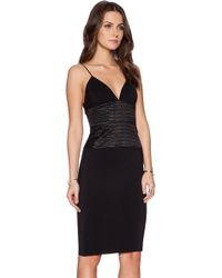 L'Agence Black Midi Dress - Lyst
