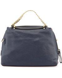 Halston Heritage Small Leather Satchel Bag blue - Lyst