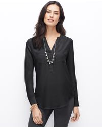 Ann Taylor Tall Split Neck Silk Tunic - Lyst
