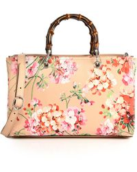Gucci | Bamboo Shopper Blooms Leather Tote | Lyst