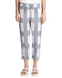 Current/Elliott Drawstring Cropped Cotton & Linen Pants - Lyst
