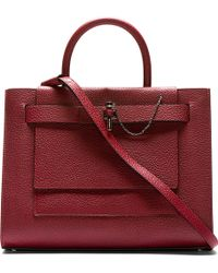 Carven Burgundy Leather Chain_lock Tote - Lyst