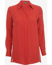 Vince Silk Blouse Red - Lyst
