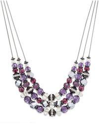 Inc International Concepts Hematite-tone Purple Bead Three-row Frontal Necklace - Lyst