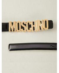 Boutique Moschino - Skinny Logo Plaque Belt - Lyst