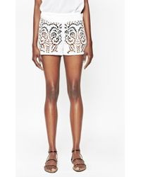 French Connection Embroidered Cut-Out Beach Shorts - Lyst