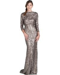Badgley Mischka V-Back Sequin Evening Gown - Lyst