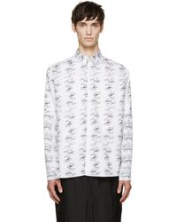 Ann Demeulemeester White And Black Floral Shirt black - Lyst