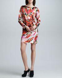 Jean Paul Gaultier Longsleeve Floral Satin Dress - Lyst