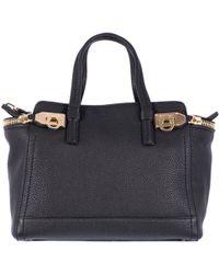"Ferragamo Black Hammered Leather ""Verve"" Small Bag black - Lyst"