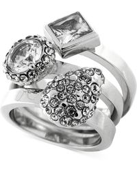 Vince Camuto Light Rhodium-tone Multi Stone Stack Ring 3-pc Set - Lyst