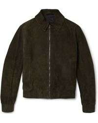 Gieves & Hawkes Suede Bomber Jacket - Green