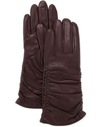 Grandoe - Pris Ruched Leather Gloves Plum - Lyst