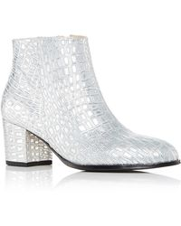 4ee177cb332b8 Carmelinas Ana Bootie In Silver Crocodile Embossed Calf Leather - Metallic