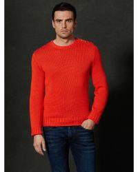 Ralph Lauren Purple Label Buttoned Shoulder Sweater - Lyst