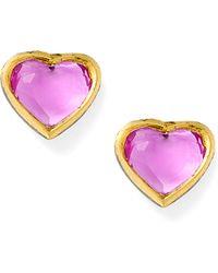 She Bee Gem - Mini Hearts Earring in Hot Pink - Lyst