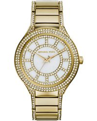 Michael Kors Midsize Golden Stainless Steel Kerry Threehand Glitz Watch - Lyst