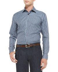 Ferragamo Large-check Woven Shirt - Lyst