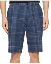 Calvin Klein Slub Multi-Plaid Shorts blue - Lyst