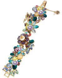 Betsey Johnson Gold-tone Multi-stone Flower Bracelet - Metallic