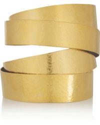 Herve Van Der Straeten Hammered Gold-Plated Cuff - Lyst