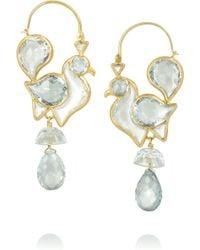 Munnu - 22-Karat Gold Aquamarine Earrings - Lyst