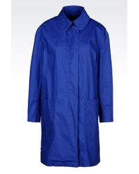 Emporio Armani Coat In Cotton Blend With Shirt Collar - Lyst