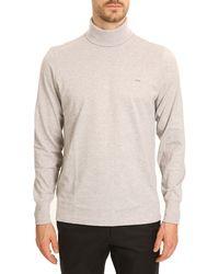 Lacoste Pima Mottled Grey Rollneck Tshirt - Lyst