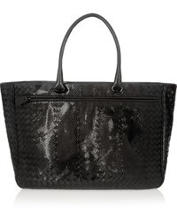 Bottega Veneta Glossedwatersnake and Intrecciato Leather Tote - Lyst