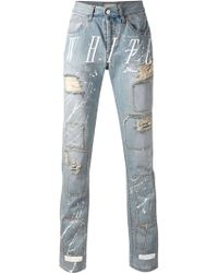 Off-White Printed Distressed Jeans - Lyst