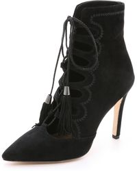 Cynthia Vincent - Harp Suede Lace Up Booties - Burgundy - Lyst