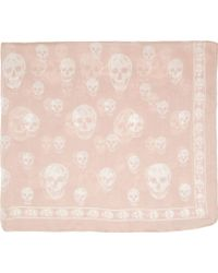 Alexander McQueen Pink And Ivory Chiffon Skull Scarf - Lyst