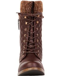 Akira Black Label - Elena Quilted Combat Boot In Brown - Lyst