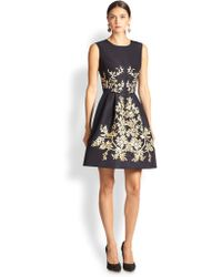 Oscar de la Renta Metalic-Embroidery Silk Cocktail Dress - Lyst