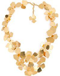 Herve Van Der Straeten Hammered Gold-Plated Fleur Necklace - Lyst