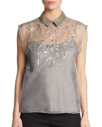 Philosophy di Alberta Ferretti Embellished Silk-gauze Blouse - Lyst