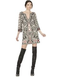 alice + olivia Lowell Embroidered V-Neck Dress multicolor - Lyst