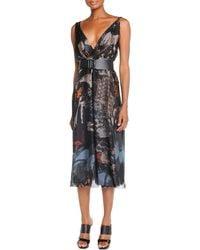Donna Karan New York Deep V-Neck Printed Dress - Lyst