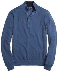 Brooks Brothers Cotton Cashmere Button Mockneck - Lyst