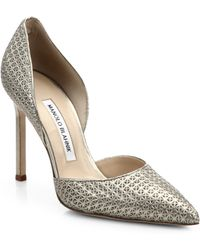 Manolo Blahnik Star-Stamped Metallic Leather D'Orsay Pumps silver - Lyst