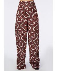 Missguided Paisley Print Wide Leg Pants - Lyst