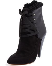 Iro Suede and Leather Shearling Lined Lace Up Boots - Lyst