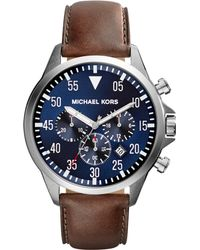 Michael Kors Mens Chronograph Gage Brown Leather Strap Watch 45mm - Lyst