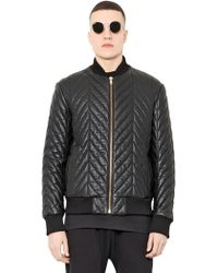 Blood Brother Quilted Leather Bomber Jacket - Black