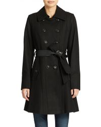 DKNY Belted Double-breasted Coat - Lyst