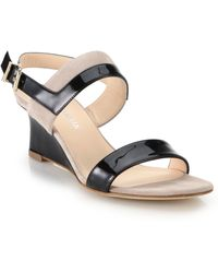 Aquatalia by Marvin K Ouianna Patent Leather & Suede Wedge Sandals - Lyst