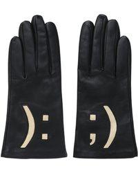 Aristide Emoticon Nappa Leather Gloves - Black