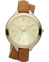 Michael Kors Ladies Gold-Tone Slim Runway Watch - Lyst