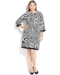 Calvin Klein Plus Size Three-Quarter-Sleeve Printed Sheath - Lyst
